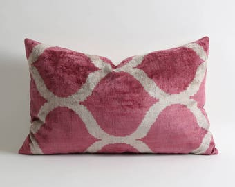 Pink velvet pillow cover // pink white silk velvet ikat decorative throw pillows // long lumbar pillow