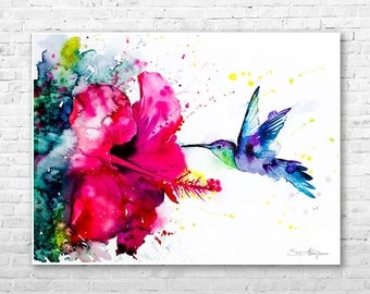 Hummingbird 2 watercolor painting print by Slaveika Aladjova, art, animal, illustration, bird, home decor, wall art, gift, Flower, Hibiscus