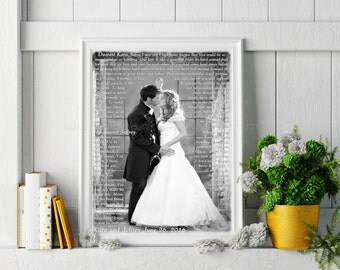 1st Anniversary Gift, Personalized Photo Art, Custom Lyric, First Dance, Wedding Song, Friend Brother Sister Parents Photo Art Paper Print