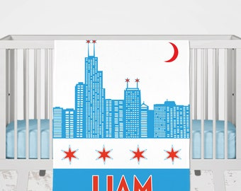Chicago Baby Blanket, Personalized Chicago Baby Gift, Chicago Skyline Blanket