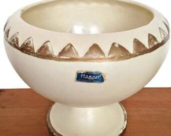 Vintage Haeger ceramic planter cream and gold jardiniere home decor