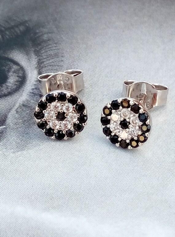 Evil eye zircon sterling silver 925 earrings, evil eye earrings, evil eye zircon earrings, evil eye silver 925 earrings, gift for her, gift