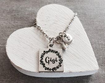 Gigi Necklace , Silver Necklace, Charm Necklace, Gigi Gift, Gigi Jewelry, Gigi Charm, Personalized Necklace, Initial charm, Gift