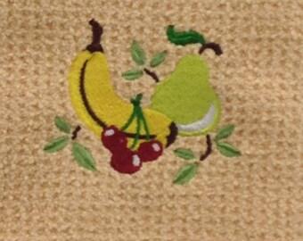 Fruit Towel - Banana, Pear, Cherries -  Microfiber Hand Towel - Butter