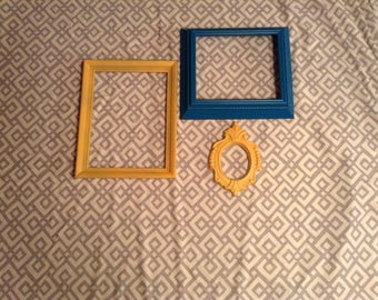 Set of 3 Spray Painted Frames - 2 Yellow, 1 Dark Teal Blue - Rectangle and Oval Shaped - Upcycled Wall Decor