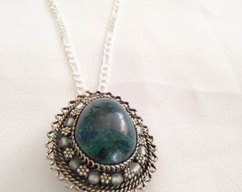 Sterling Silver Green Jasper Necklace Statement Accesories Womans Accessories teen animal jewelry gift ideas