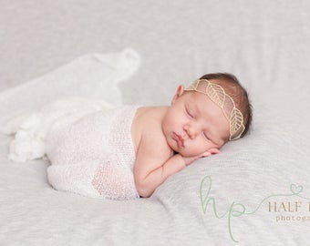 baby headband - gold headband - gold leaf headband - lace headband - baby headbands - infant headbands - photo prop - simple headband