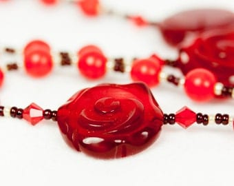 Red Howlite and Red Rose Rosary, Red Beaded Rosary, Red Rosary, Beaded Rosaries, Handmade Rosary