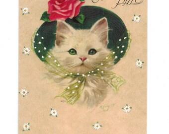 Vintage UNUSED Kitten Cat Wearing Hat Secret Pal Anniversary Greeting Card Artist Signed Marjorie Cooper by Rust Craft