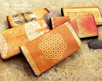 Designed Tobacco Pouch, bohemian tobacco case, pouch for tobacco, Flower of life rolling tobacco pouch, smoking accessories, Cigarretes case