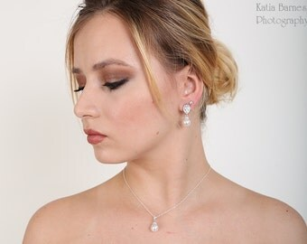 Free US Shipping Swarovski Pearl Bridal Necklace And Earring Set Pearl And Cubic Zirconia Teardrop And Pearl Bridal Set Bridal Jewelry Set