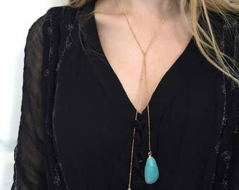 Turquoise Bolo Gold Chain Bolo Turquoise Lariat Stone Jewelry Gold Turquoise Pendant Connector slice Turquoise Jewelry Gold Bolo Necklace