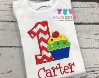 1st Birthday boy Outfit - Baby boy Cupcake Birthday Outfit - Cupcake Birthday Shirt- 1st Birthday Outfit - boy first birthday shirt