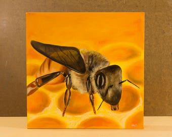 Bumble Bee Painting, Original Oil Art