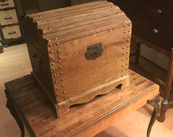Antique and Vintage Small Studded and Ribbed Wooden Fabric Lined Treasure Chest