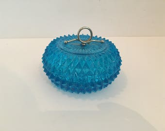 Bright Blue Diamond Cut Solid Glass Covered Candy Dish