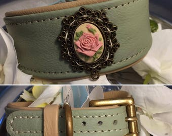 Rose dream in bright lime green leather collar