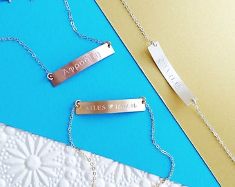 Personalised Reversible Bar Bracelet - 14k Gold Fill, Rose Gold Fill, Sterling Silver, Personalised Bracelet, Gift For Her