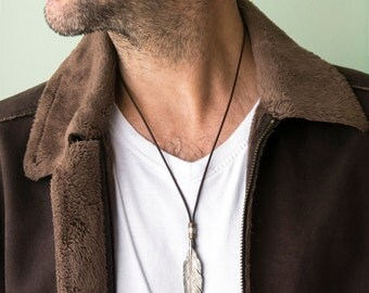 Men's Necklace - Men's Leather Necklace - Men's Silver Necklace - Men's Jewelry - Men's Gift - Boyfriend Gift - Husband Gift - Gift For Him