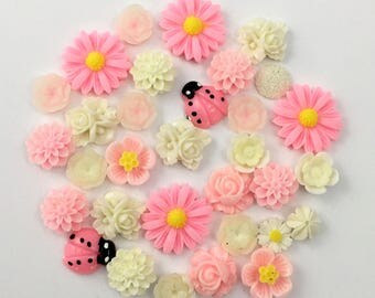 30 pcs resin cabochon flower ,assorted sizes,#FL092