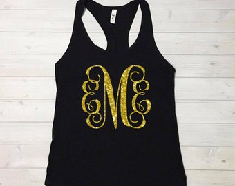 Women's monogram shirt, women's monogram tank, glitter monogram tank, womens monogram shirt, monogram tank top, *runs small, size up*