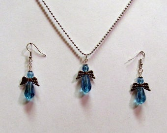 Light Blue Crystal Small Winged Easter Angel Necklace and Earring Set 07