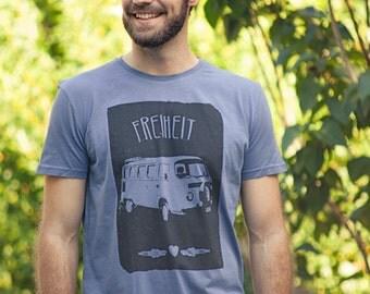 Freedom - men - bio fair gehandeletes shirt - blue/grey