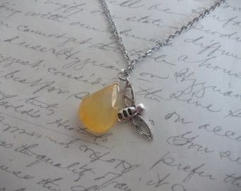 Honey bee necklace with yellow calcedony stone drop