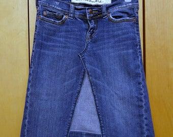 Girls Size 12 Slim Upcycled Denim Skirt / Short Denim Skirt / Spring Denim / Boho Clothing / Hippie Skirt / Festival Clothing