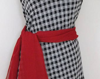 Gingham Black and White Checkered Sleeveless Knit Womens Dress, Check Patterned Shirt Dress- Size M