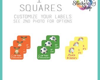 "72 Kid's Name Label Stickers 1"" Squares - Waterproof, Dishwasher Safe for School, Daycare, Camp"