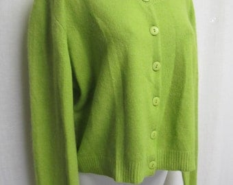 Angora Cardigan Angora Sweater Lime Green Cardigan Sweater Cropped Sweater Lime Green Angora