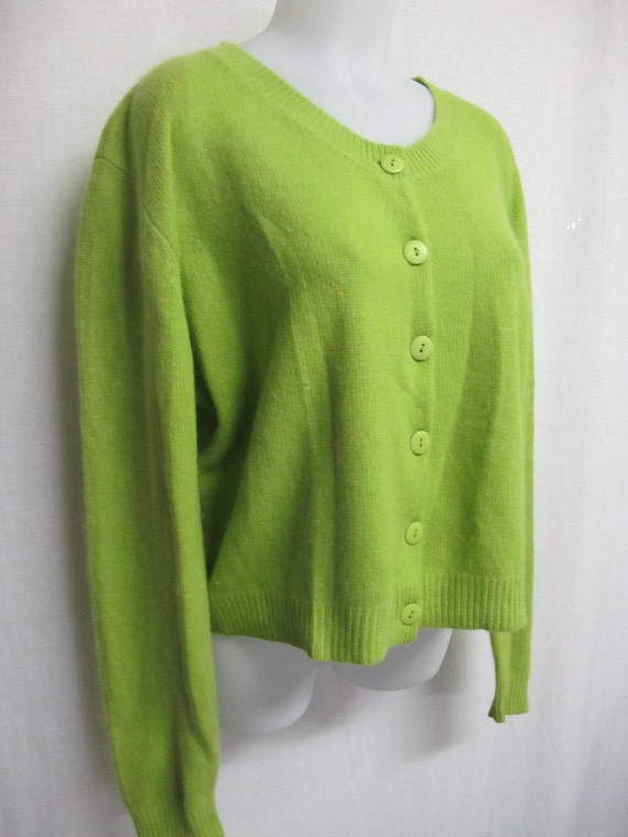 Angora Cardigan Angora Sweater Lime Green Cardigan Sweater