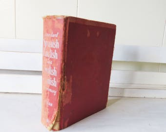 Vintage Spanish English Dictionary - 1942- English-Spanish Spanish English Carlos Francisco Duran 65,000 words