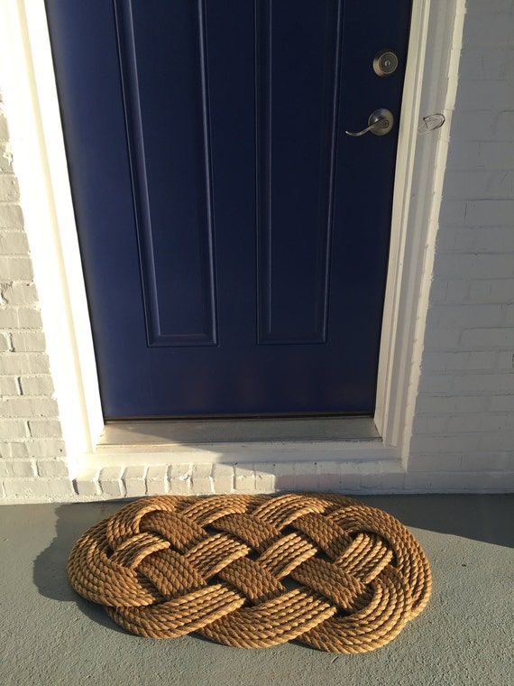 Large rope rug nautical decor nautical rope mat heavy for Large nautical rope