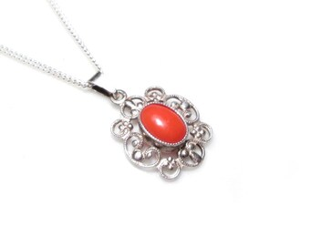 RESERVED * pendant silver coral necklace, art deco pedant coral, antique necklace silver