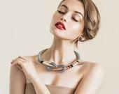 Tendai Neckpiece, Black Copper Gold, Tribal necklace rope necklace Statement necklace Rope necklace Geometric necklace Edgy necklace Bib nec