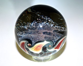 Glass Galaxy Marble, Red Dichroic, Heady Glass - Boro, Flamework, Handmade (ref #328)