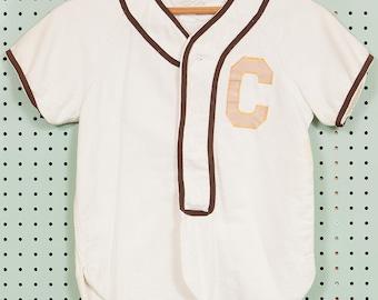 40s Vintage Baseball Jersey Size XS/S Sewn-Letter C #14