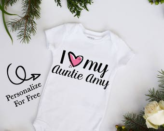 I Love My Aunt CUSTOMIZE NAME Heart Baby Girl Bodysuit