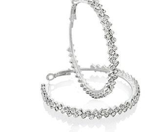 Diane Lo'ren 18KT White Gold Plated Zig-Zag Crystal Hoop Earrings For Women Jewelry