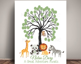 Fingerprint Jungle Safari Baby Shower Guest Book Alternative for Jungle Nursery, Thumbprint Tree, Giclee Print