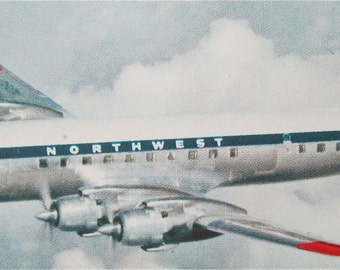 Outstanding 1950's Northwest Orient Airlines Imperial Service DC-7C Postcard - Free Shipping