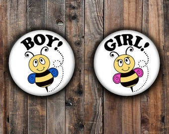 Bumble bee gender reveal pins with pink and blue wings