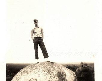 the rock ~ Vintage Snapshot Photo ~ handsome man
