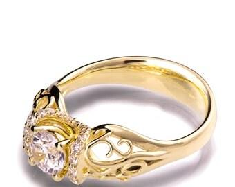 Moissanite engagement ring, Vintage Engagement Ring, Art Nouveau, engagement ring, Filigree engagement ring, 18K Yellow Gold Ring, eng18