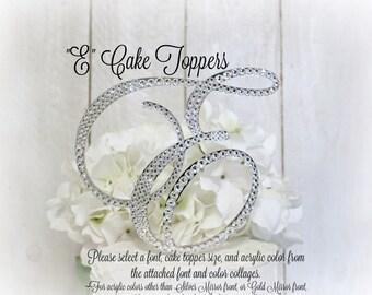 E Wedding Cake Topper, Gold Letter E Cake Topper, E Monogram Cake Topper, Initial E Cake Topper, Bling E Cake Topper, E Swarovski Rhinestone