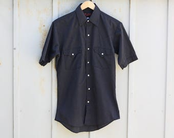 Black Western Shirt - Pearl Snap Button Shirt - Men's Small Cowboy Shirt - Rodeo Shirt - Short Sleeve Shirt - Folk Shirt - Indie Shirt - 90s