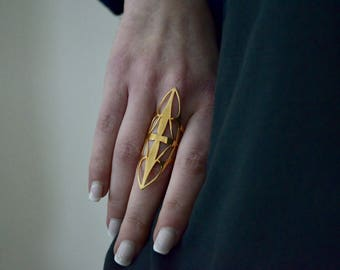 24k gold filled armour statement adjustable ring