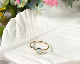 6 mm Opal Gold Fill Ring, opal ring, opal jewelry, gold fill ring, stacking ring, stackers, stackable rings